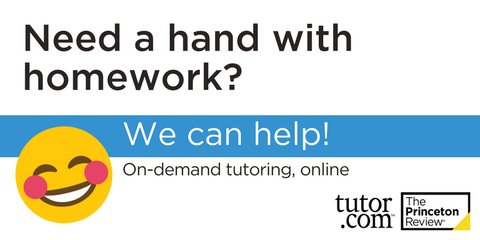 "Smiley Face Emoji, text reads ""Need a hand with homework?  We can help!  On-demand turtoring, online."""